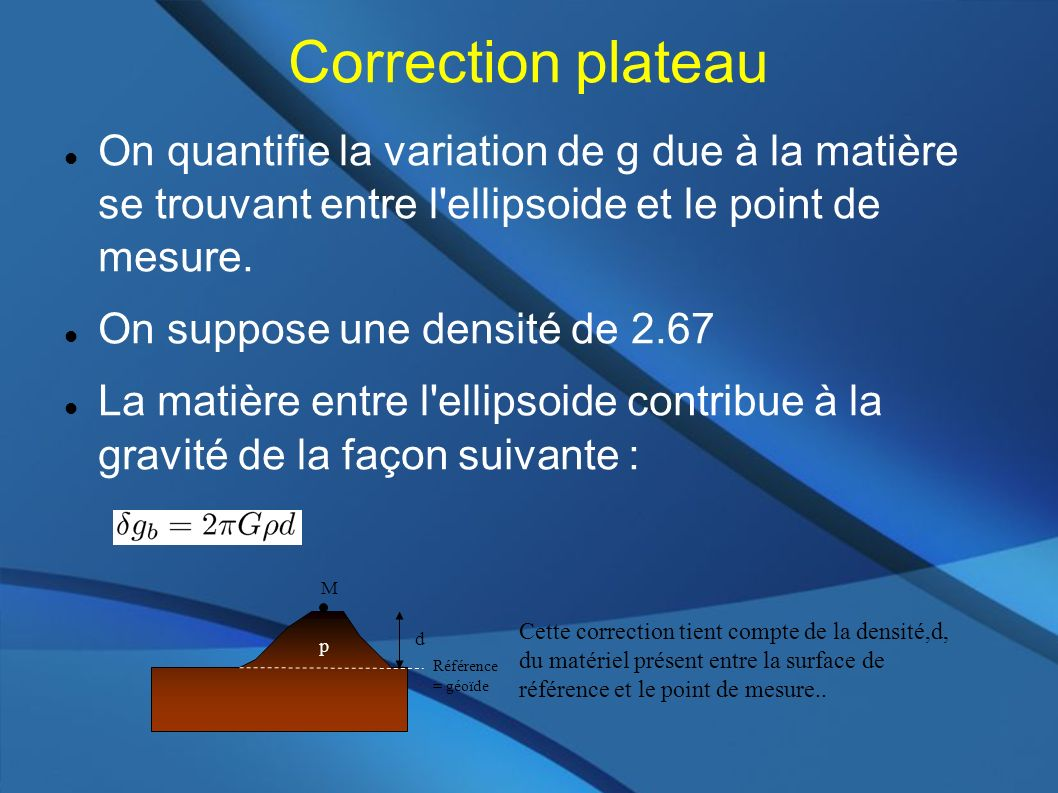 Correction plateau On quantifie la variation de g due à la matière se trouvant entre l ellipsoide et le point de mesure.