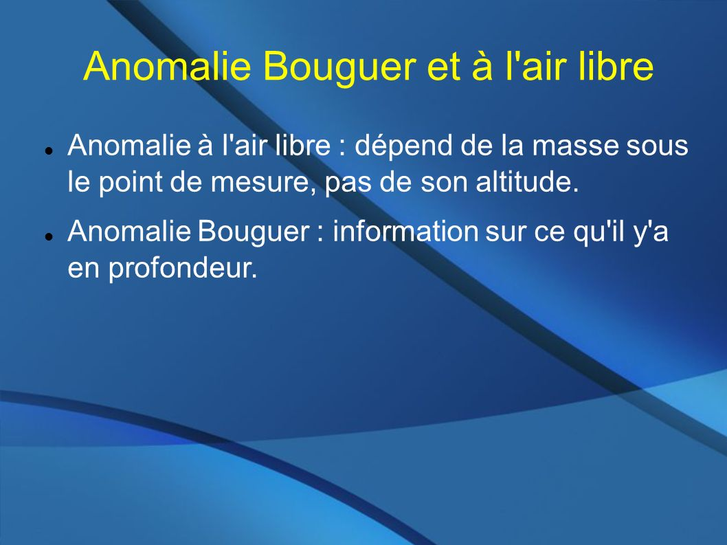 Anomalie Bouguer et à l air libre Anomalie à l air libre : dépend de la masse sous le point de mesure, pas de son altitude.
