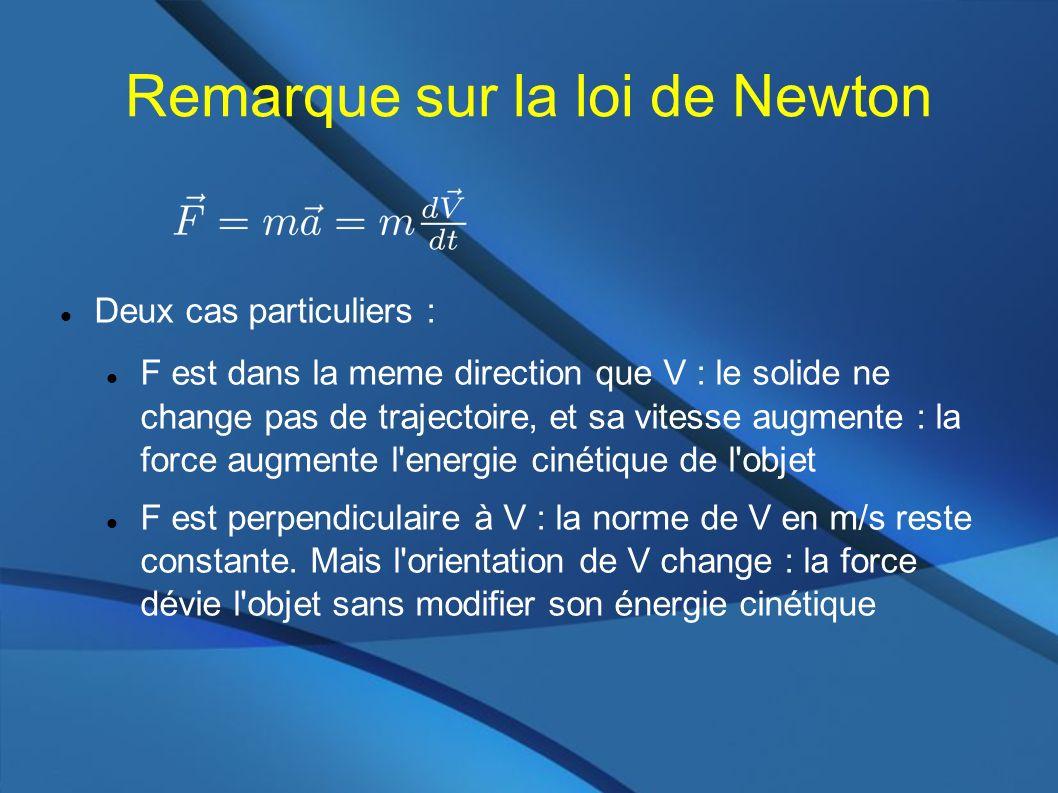 Remarque sur la loi de Newton Deux cas particuliers : F est dans la meme direction que V : le solide ne change pas de trajectoire, et sa vitesse augmente : la force augmente l energie cinétique de l objet F est perpendiculaire à V : la norme de V en m/s reste constante.