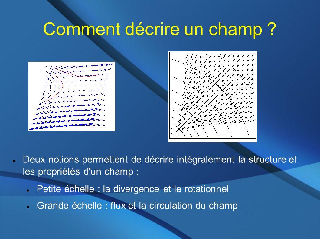 Comment décrire un champ ? Deux notions permettent de décrire intégralement la structure et les propriétés d'un champ : Petite échelle : la divergence