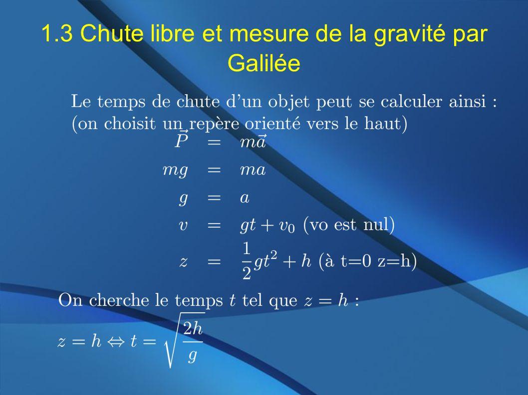 1.3 Chute libre et mesure de la gravité par Galilée