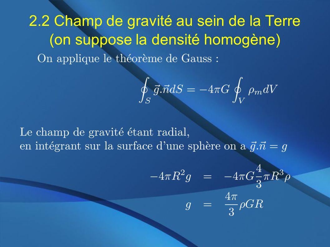 2.2 Champ de gravité au sein de la Terre (on suppose la densité homogène)