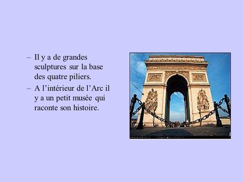 –Il y a de grandes sculptures sur la base des quatre piliers. –A lintérieur de lArc il y a un petit musée qui raconte son histoire.