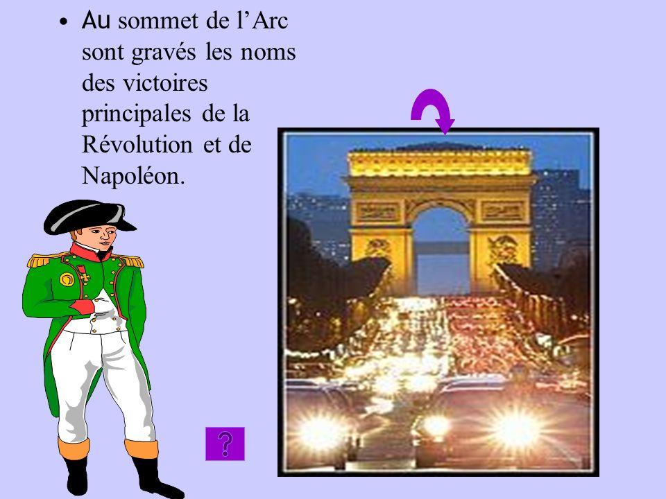 Au sommet de lArc sont gravés les noms des victoires principales de la Révolution et de Napoléon.