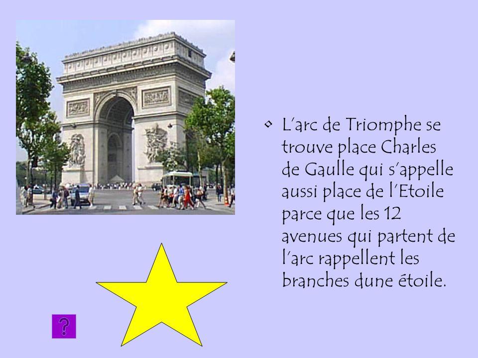 Larc de Triomphe se trouve place Charles de Gaulle qui sappelle aussi place de lEtoile parce que les 12 avenues qui partent de larc rappellent les bra