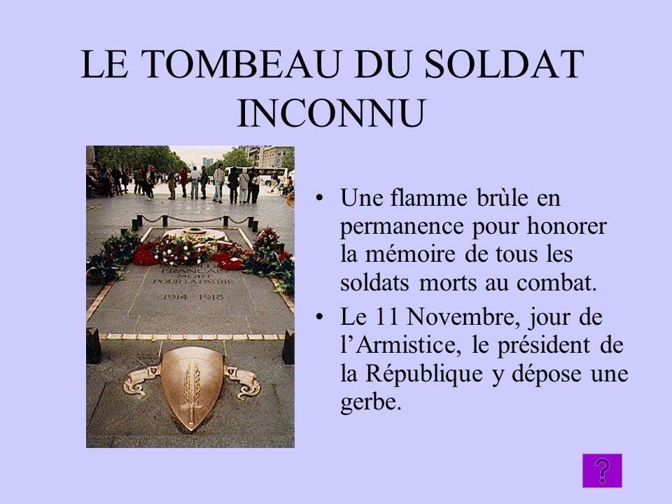 LE TOMBEAU DU SOLDAT INCONNU Une flamme brùle en permanence pour honorer la mémoire de tous les soldats morts au combat. Le 11 Novembre, jour de lArmi