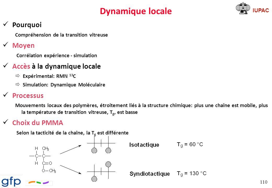 IUPAC Dynamique locale: cas du PMMA Calcul de la fonction dorientation P 2 ð Calcul de la fonction dautocorrélation de dipôles à partir dune trajectoire de DM ð Obtention du deuxième terme du polynôme de Legendre ðAjustement par une exponentielle étendue de KWW 111