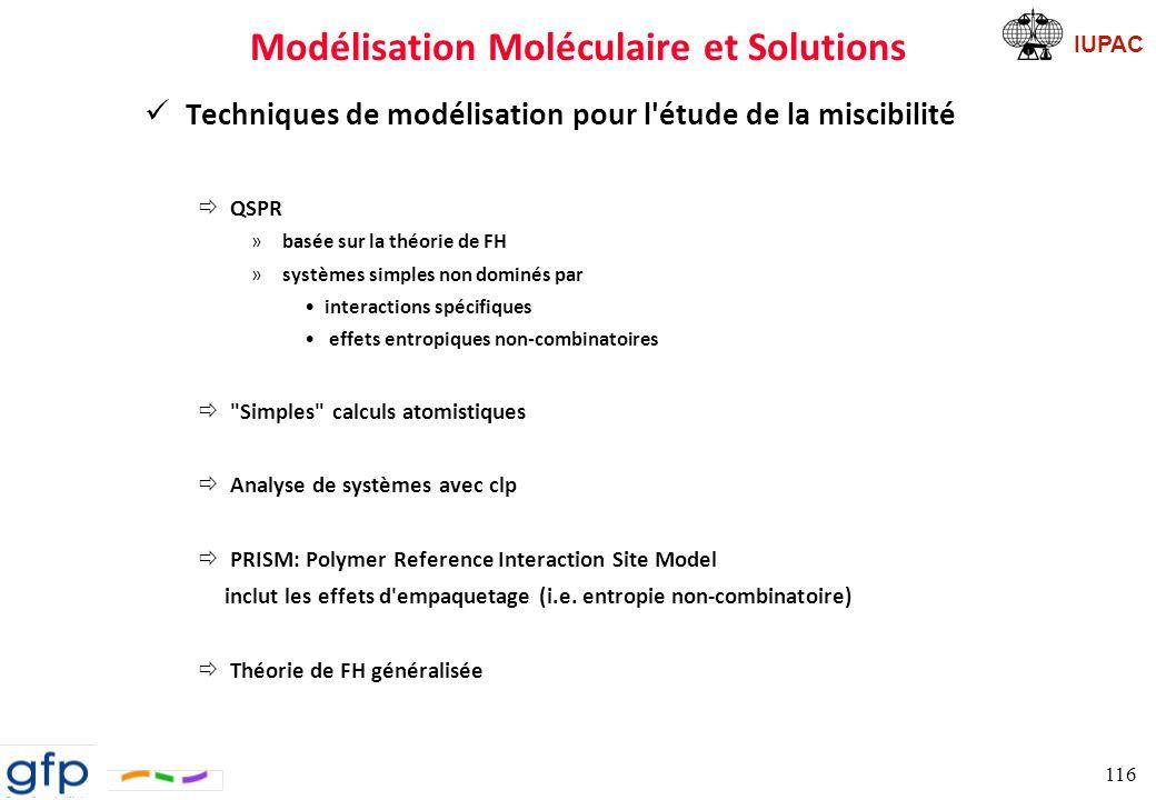 IUPAC Modélisation Moléculaire et Solutions QSPR Problèmes ð pas de corrélation structurale entre les segments de polymère ð tous les segments ont la même taille et la même forme ð pas de variation de volume lors du mélange 117 100 cm 3.mol -1 ; valeur arbitraire