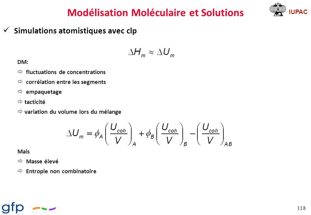 IUPAC QSPR Simulation atomistique Calculs du Paramètre FH Paramètres de solubilité