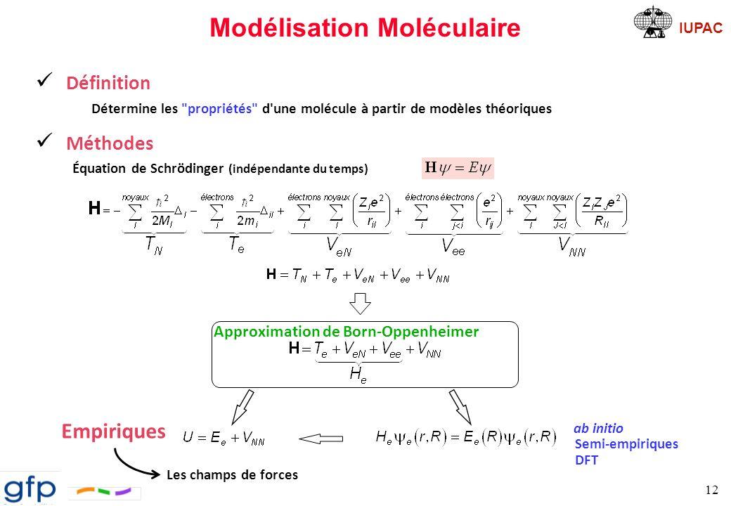 IUPAC Champ de Forces 13 Définition Exprime les interactions entre les atomes.