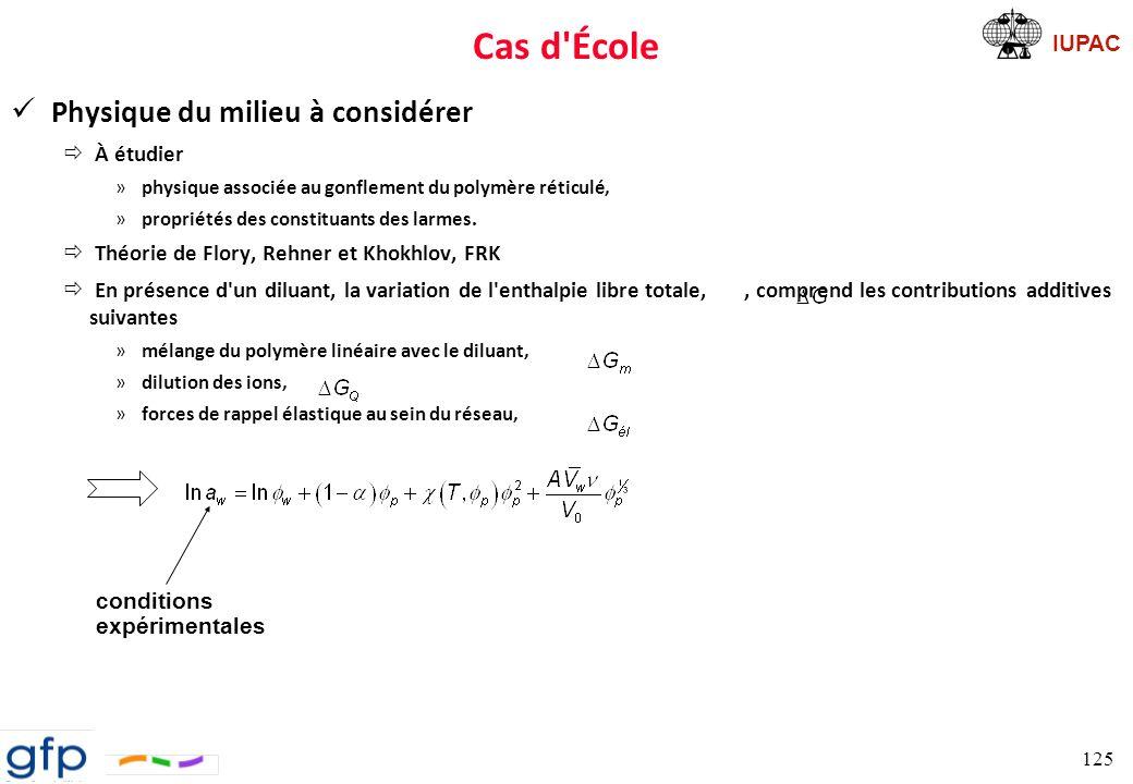 IUPAC Cas d École Stratégie ð T = 37 °C ð Contrôle par le formulateur des facteurs suivants »le paramètre d interaction,, en contrôlant la composition polymère/copolymère, »le module élastique réduit, en faisant varier la densité de réticulation, »la fraction de monomères ionisables ð Problème revient à trouver une relation entre la structure chimique du polymère et une évaluation quantitative de ces facteurs courbes du paramètre d interaction en fonction de la concentration sont reportées pour différentes valeurs de et du module élastique, sur un même graphe.