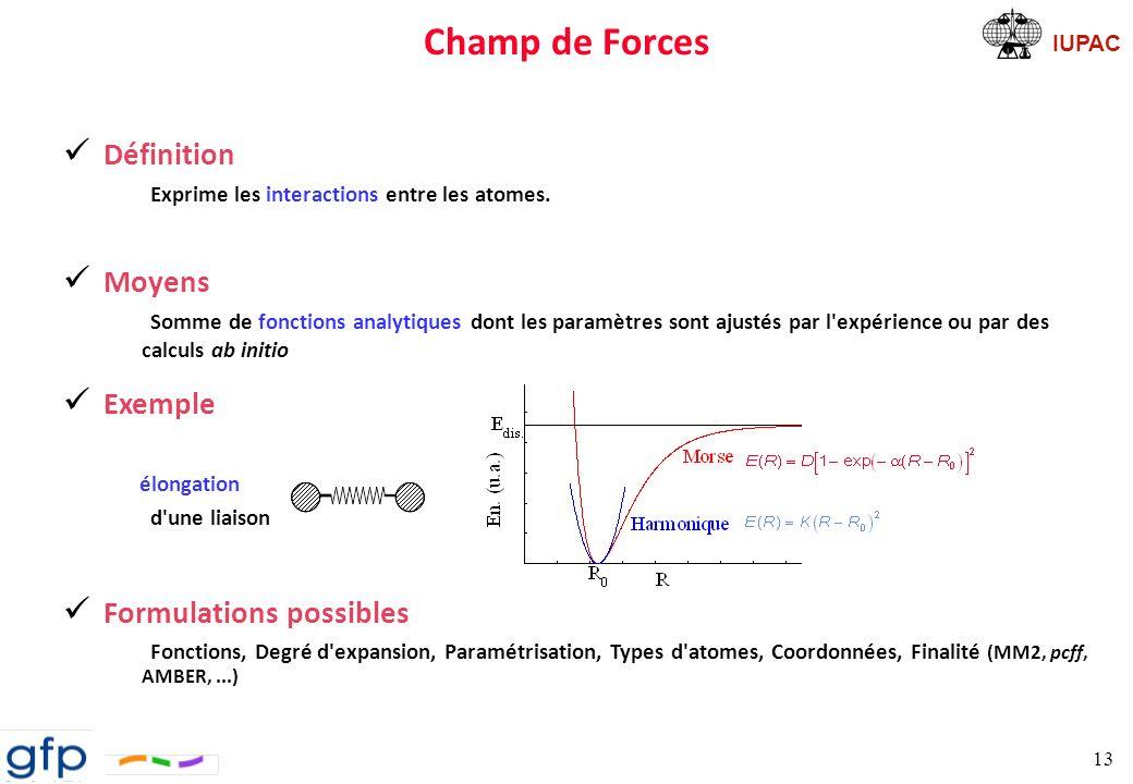 IUPAC Représentation simplifiée dun champ de forces 14 Connexion Flexibilité Lennard-Jones électrostatique U = E intramoléculaire + E intermoléculaire