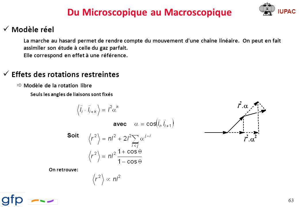 IUPAC Du Microscopique au Macroscopique ðModèle de la rotation gênée Si la fonction d énergie potentielle est symétrique et si les rotations des liaisons sont indépendantes l une de l autre, on trouve: ðRemarque Autant a une signification physique car on peut trouver une valeur moyenne des angles de valence, autant ne signifie pas grand chose.