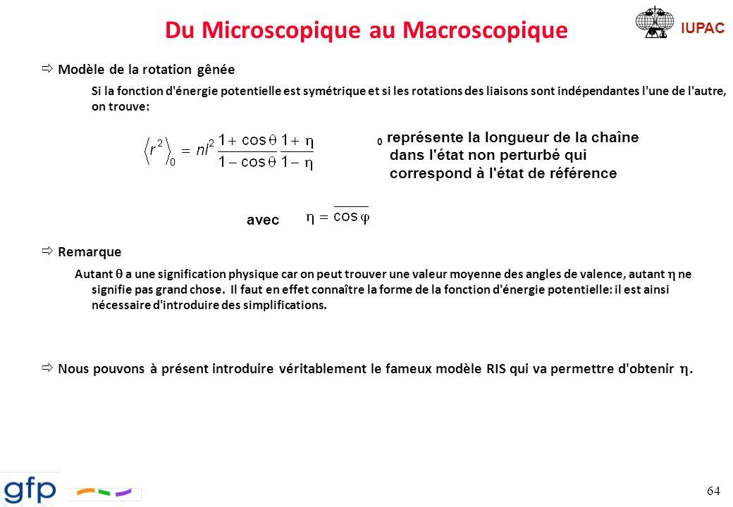 IUPAC Modèle RIS Définition RIS: Rotational Isomeric States Une liaison se trouve dans un des états rotamériques, c est-à-dire un état de conformation d énergie minimale.