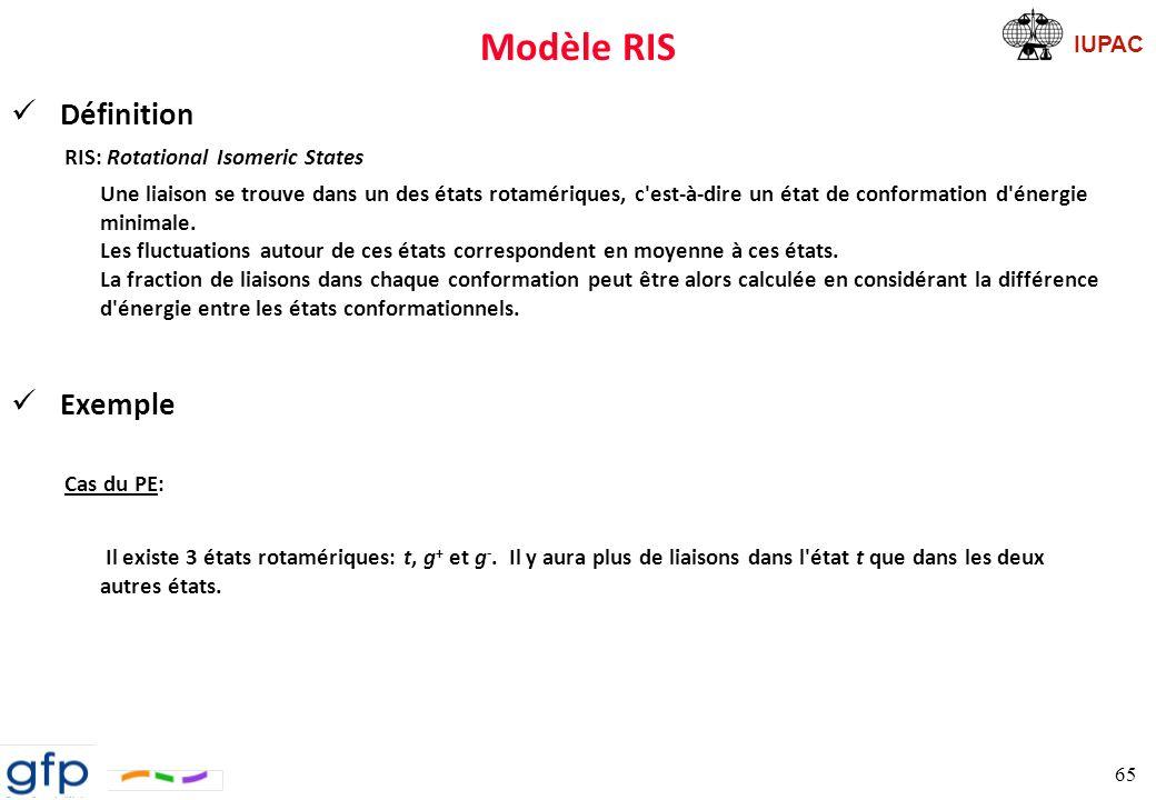 IUPAC Modèle RIS Fonction de partition poids statistique: Une chaîne présente une configuration donnée, { } correspond alors à un ensemble d états Il existe (n-2) ensembles 66 Loi binomiale