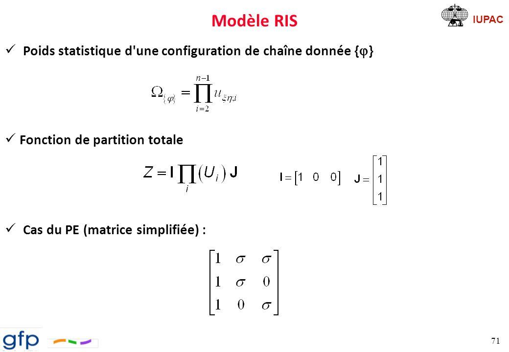 IUPAC Modèle RIS Probabilités probabilité d une configuration donnée { } ð probabilité conditionnelle D un point de vue du formalisme mathématique, la probabilité conditionnelle est définie comme étant la probabilité qu un événement A soit le résultat d une expérience sachant que l événement B l ait été également 72