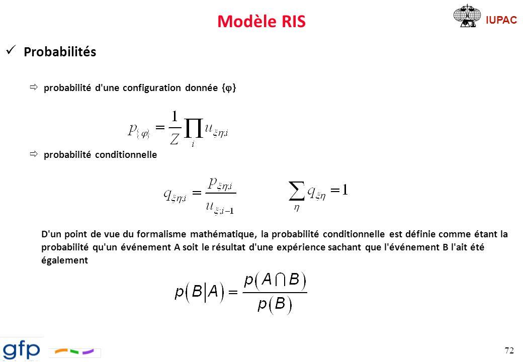 IUPAC Modèle RIS Résumé RIS Le modèle RIS permet d obtenir les statistiques conformationnelles de chaînes de polymères non perturbées mais réalistes en réduisant les intégrales compliquées par une simple multiplication de matrices Paul J.