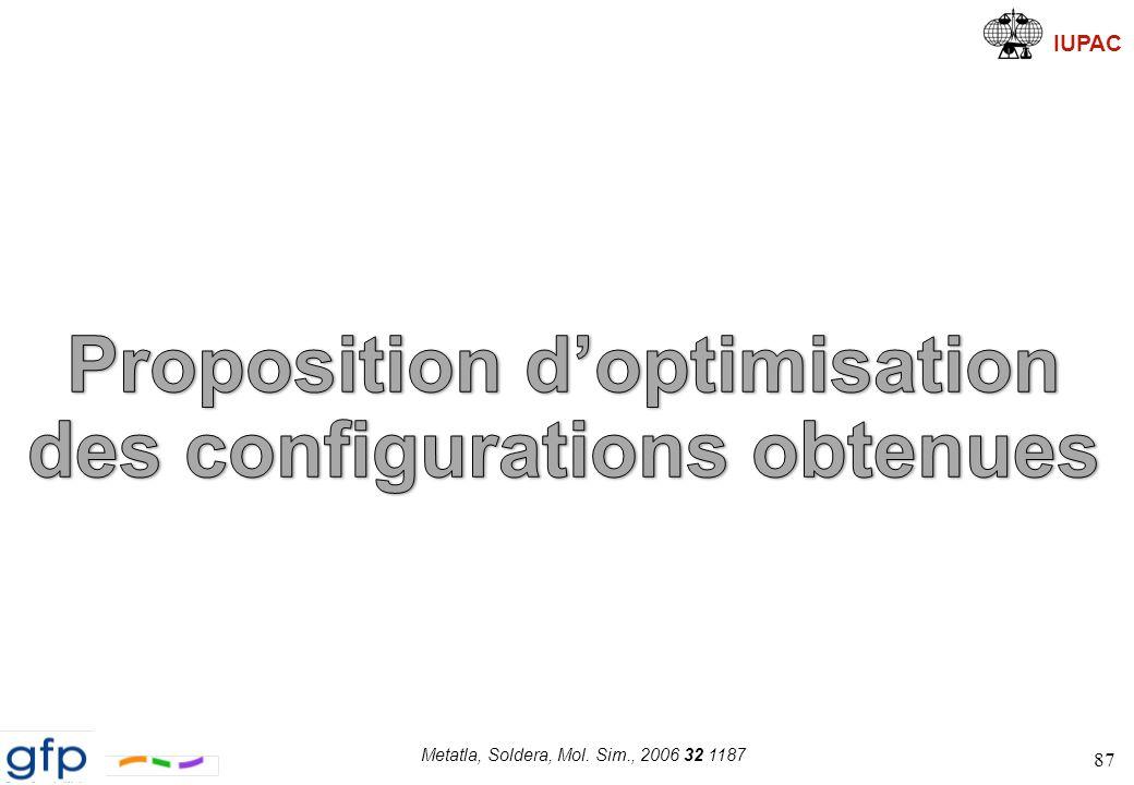 IUPAC Sélection appropriée des configurations 88 Short Range (pentane effect: RIS) 1.Génération de 50 configurations 2.Calcul de R g 3.Sélection of configurations 4.Critère énergétique 5.Recuit simulé 10 configurations sont sélectionnées p.b.c.