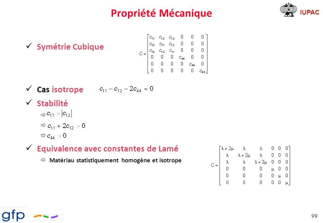 IUPAC Propriété Mécanique Calculs de la matrice de constantes élastiques ð Pour un milieu isotrope, elle vaut: Avec et les coefficients de Lamé ð ð But du code, obtenir les coefficients de Lamé »3 paires compression-détente selon les 3 axes + 3 paires de cisaillement » Calcul de : » Calcul de : » Calcul de E: 100