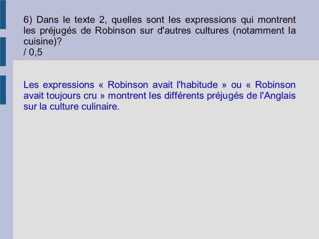Les expressions « Robinson avait l'habitude » ou « Robinson avait toujours cru » montrent les différents préjugés de l'Anglais sur la culture culinair
