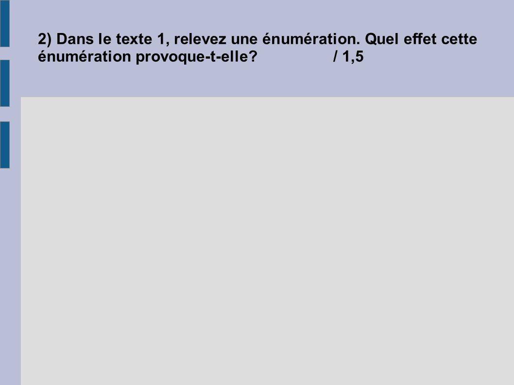 2) Dans le texte 1, relevez une énumération. Quel effet cette énumération provoque-t-elle?/ 1,5