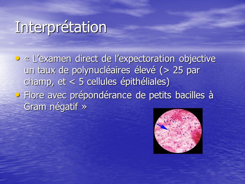 Interprétation « Lexamen direct de lexpectoration objective un taux de polynucléaires élevé (> 25 par champ, et 25 par champ, et < 5 cellules épithéli