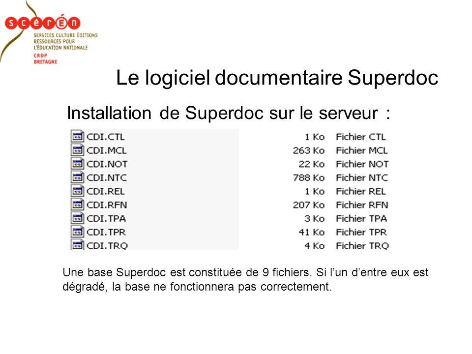 Le logiciel documentaire Superdoc Installation de Superdoc sur le serveur : Une base Superdoc est constituée de 9 fichiers.