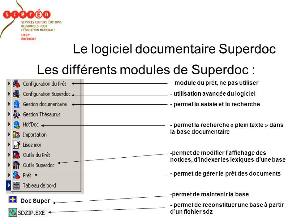 Le logiciel documentaire Superdoc Les différents modules de Superdoc : - module du prêt, ne pas utiliser - utilisation avancée du logiciel - permet la saisie et la recherche - permet la recherche « plein texte » dans la base documentaire -permet de modifier laffichage des notices, dindexer les lexiques dune base - permet de gérer le prêt des documents -permet de maintenir la base - permet de reconstituer une base à partir dun fichier sdz Doc Super