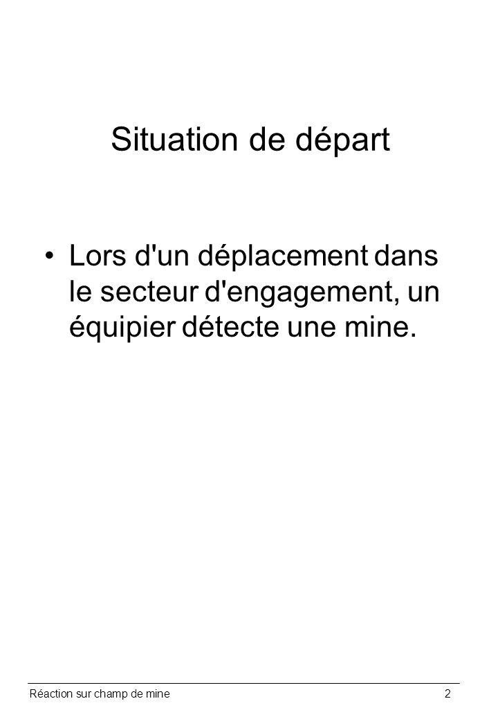 Réaction sur champ de mine2 Situation de départ Lors d'un déplacement dans le secteur d'engagement, un équipier détecte une mine.