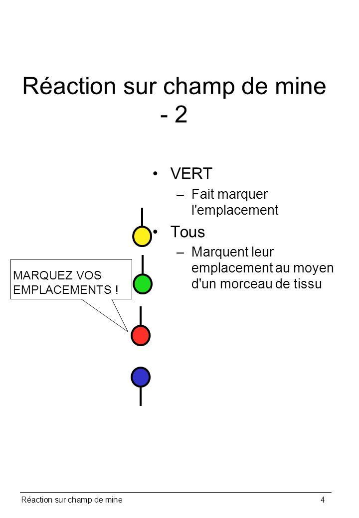 Réaction sur champ de mine4 Réaction sur champ de mine - 2 VERT –Fait marquer l'emplacement Tous –Marquent leur emplacement au moyen d'un morceau de t