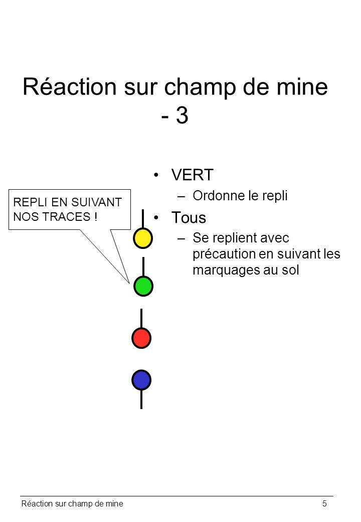 Réaction sur champ de mine5 Réaction sur champ de mine - 3 VERT –Ordonne le repli Tous –Se replient avec précaution en suivant les marquages au sol RE