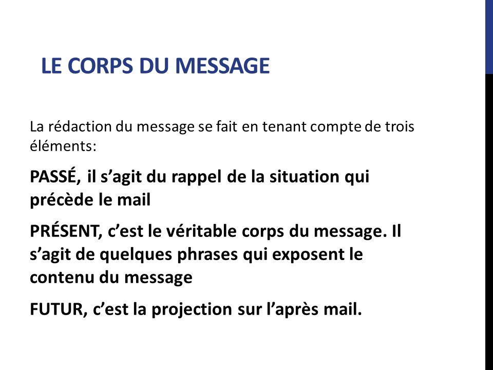 LE CORPS DU MESSAGE La rédaction du message se fait en tenant compte de trois éléments: PASSÉ, il sagit du rappel de la situation qui précède le mail