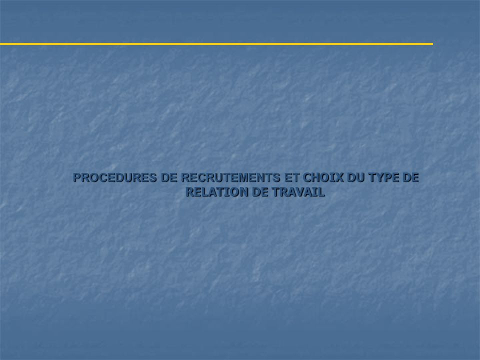 PROCEDURES DE RECRUTEMENTS ET CHOIX DU TYPE DE RELATION DE TRAVAIL