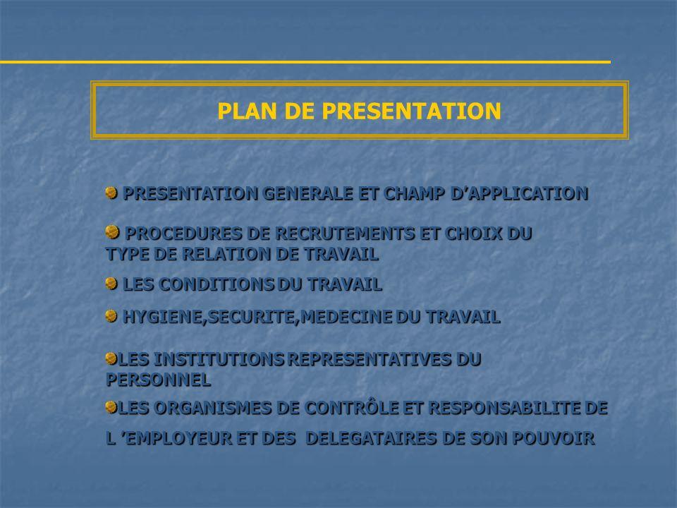 PRESENTATION GENERALE PRESENTATION GENERALE ET CHAMP D APPLICATION DU CODE DU TRAVAIL