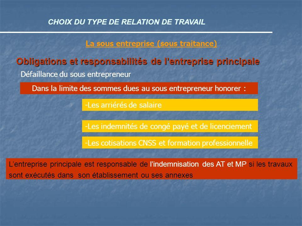 CHOIX DU TYPE DE RELATION DE TRAVAIL La sous entreprise (sous traitance) Obligations et responsabilités de lentreprise principale Dans la limite des s