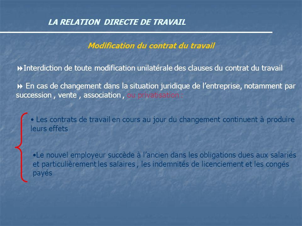 LA RELATION DIRECTE DE TRAVAIL Modification du contrat du travail Interdiction de toute modification unilatérale des clauses du contrat du travail En
