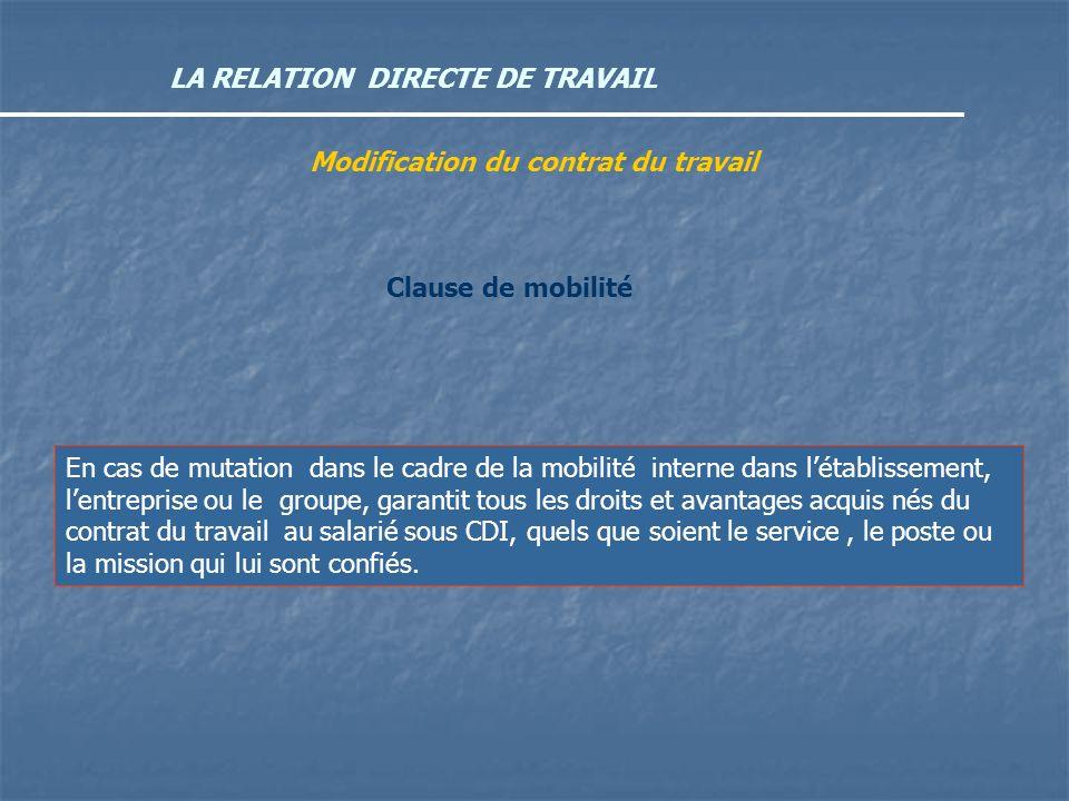 LA RELATION DIRECTE DE TRAVAIL Modification du contrat du travail Clause de mobilité En cas de mutation dans le cadre de la mobilité interne dans léta