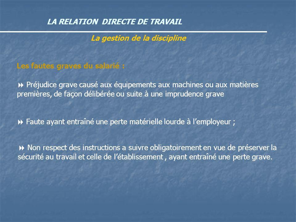 LA RELATION DIRECTE DE TRAVAIL La gestion de la discipline Préjudice grave causé aux équipements aux machines ou aux matières premières, de façon déli