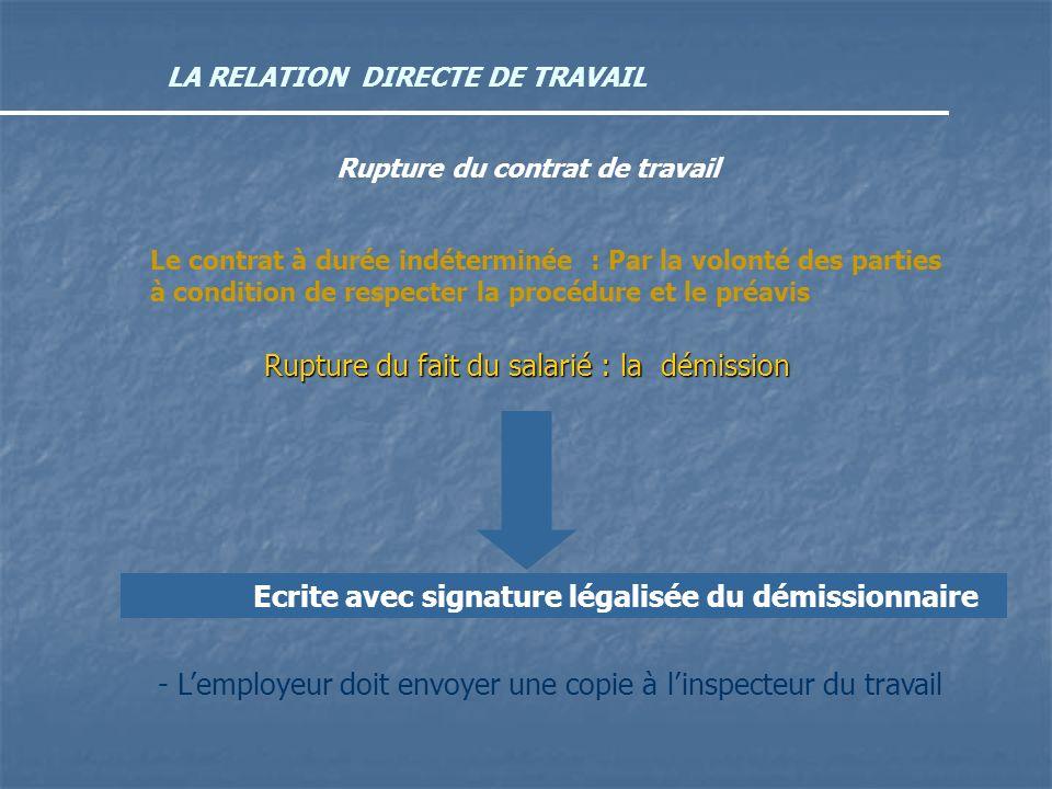 LA RELATION DIRECTE DE TRAVAIL Rupture du contrat de travail Le contrat à durée indéterminée : Par la volonté des parties à condition de respecter la