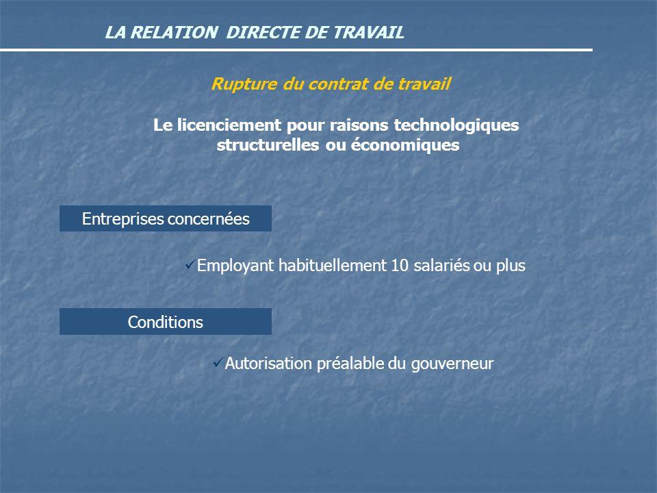 LA RELATION DIRECTE DE TRAVAIL Rupture du contrat de travail Le licenciement pour raisons technologiques structurelles ou économiques Entreprises conc