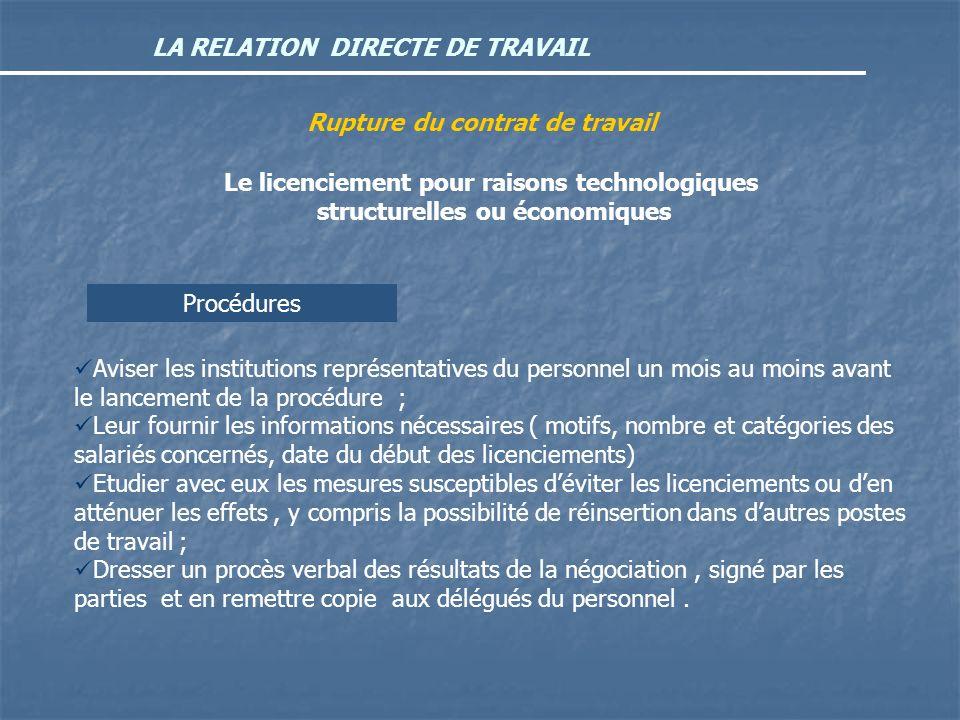 LA RELATION DIRECTE DE TRAVAIL Rupture du contrat de travail Le licenciement pour raisons technologiques structurelles ou économiques Procédures Avise