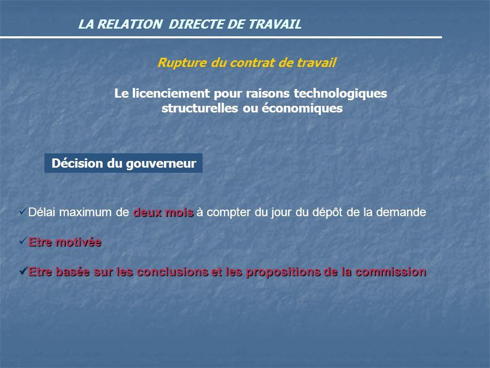 LA RELATION DIRECTE DE TRAVAIL Rupture du contrat de travail Le licenciement pour raisons technologiques structurelles ou économiques Décision du gouv