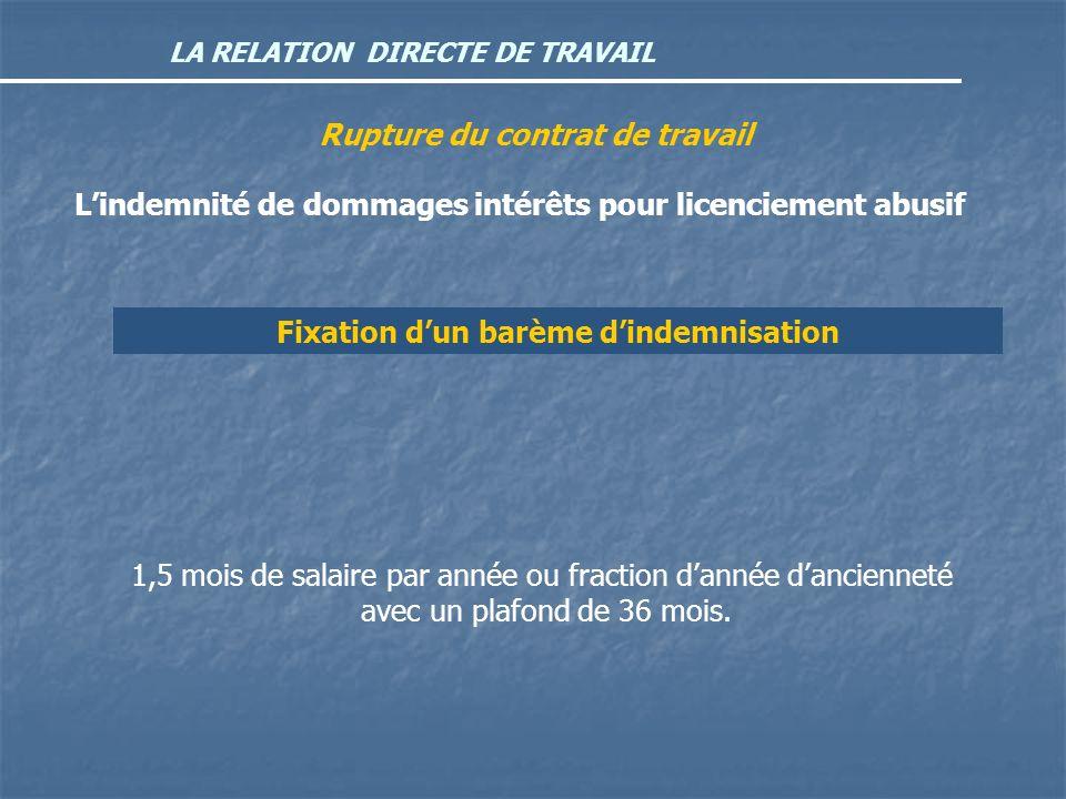LA RELATION DIRECTE DE TRAVAIL Rupture du contrat de travail Lindemnité de dommages intérêts pour licenciement abusif Fixation dun barème dindemnisati