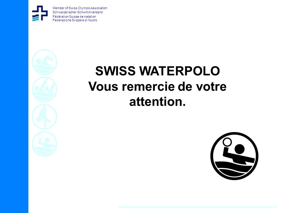 Member of Swiss Olympic Association Schweizerischer Schwimmverband Fédération Suisse de natation Federazione Svizzera di Nuoto SWISS WATERPOLO Vous re