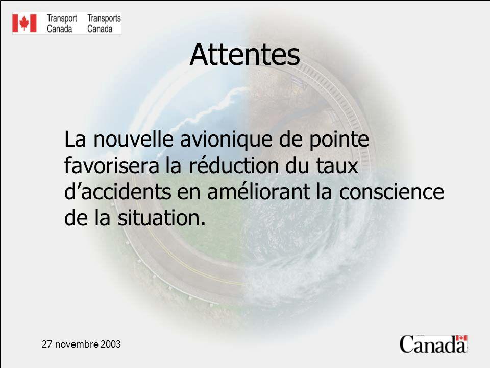 27 novembre 2003 Attentes La nouvelle avionique de pointe favorisera la réduction du taux daccidents en améliorant la conscience de la situation.