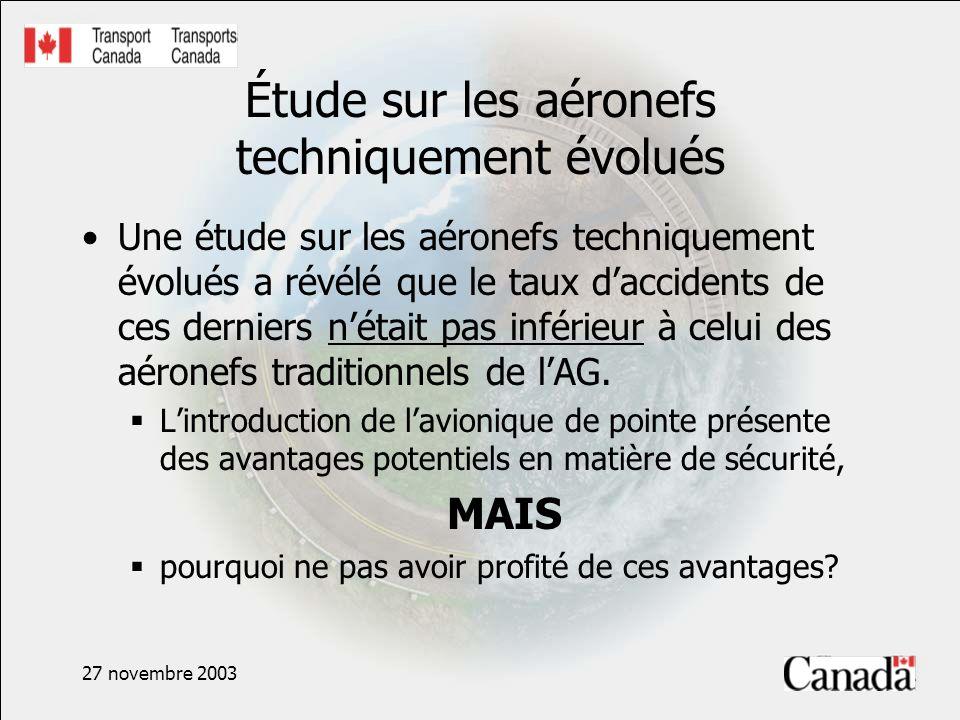 27 novembre 2003 Étude sur les aéronefs techniquement évolués Une étude sur les aéronefs techniquement évolués a révélé que le taux daccidents de ces derniers nétait pas inférieur à celui des aéronefs traditionnels de lAG.