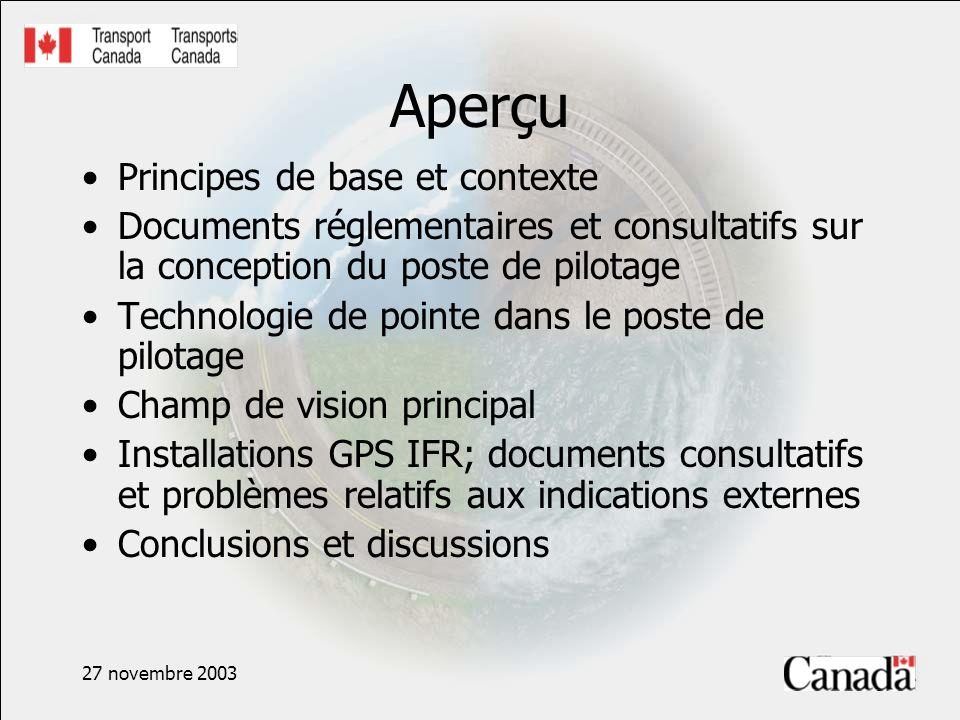 27 novembre 2003 Aperçu Principes de base et contexte Documents réglementaires et consultatifs sur la conception du poste de pilotage Technologie de p