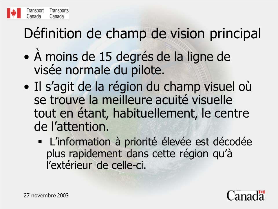 27 novembre 2003 Définition de champ de vision principal À moins de 15 degrés de la ligne de visée normale du pilote. Il sagit de la région du champ v