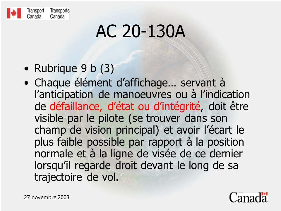 27 novembre 2003 AC 20-130A Rubrique 9 b (3) Chaque élément daffichage… servant à lanticipation de manoeuvres ou à lindication de défaillance, détat ou dintégrité, doit être visible par le pilote (se trouver dans son champ de vision principal) et avoir lécart le plus faible possible par rapport à la position normale et à la ligne de visée de ce dernier lorsquil regarde droit devant le long de sa trajectoire de vol.