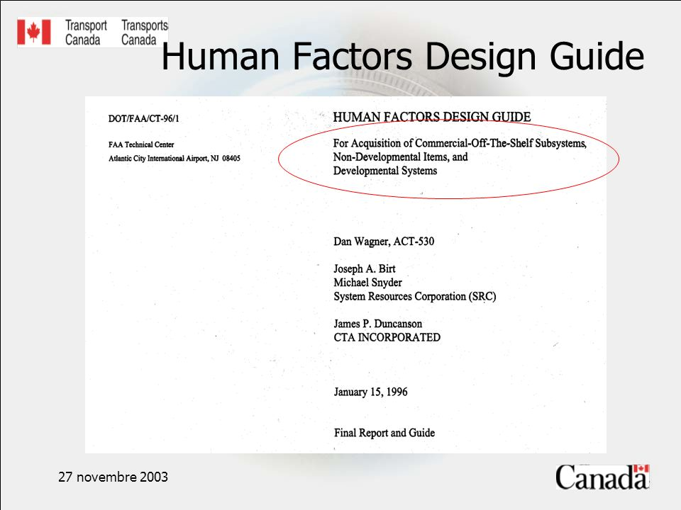 27 novembre 2003 Human Factors Design Guide